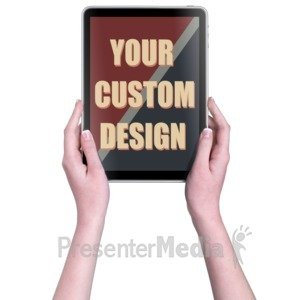 ID# 16825 - Hands Touch Tablet Vert Female Custom - Presentation Clipart