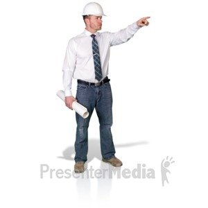 ID# 16831 - Foreman Pointing With Blueprint - Presentation Clipart