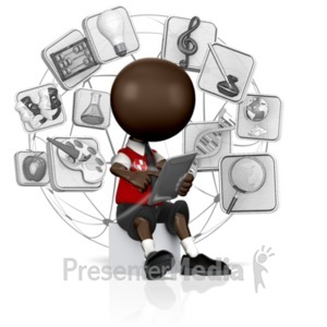 ID# 16839 - School Student Searching Tablet - Presentation Clipart