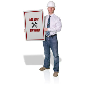ID# 16880 - Foreman Hold Sign - Presentation Clipart