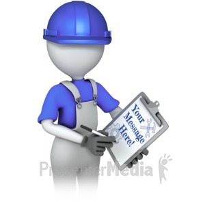 ID# 16893 - Construction Worker Custom Clipboard - Presentation Clipart