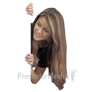 ID# 16953 - Young Woman Behind Blank Wall - Presentation Clipart