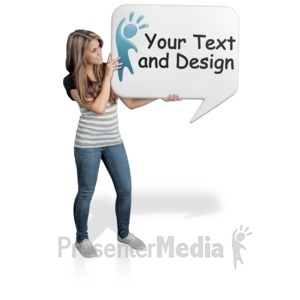 ID# 17024 - Young Woman Hold Word Balloon - Presentation Clipart