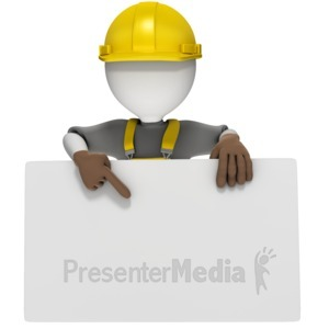 ID# 17043 - Construction Worker Holding Sign - Presentation Clipart