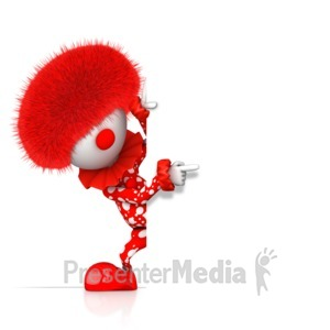 ID# 17075 - A Pointing Clown Pops Out From Behind - Presentation Clipart
