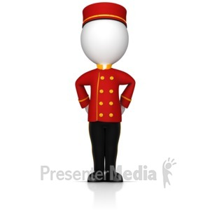 ID# 17086 - Bell Hop At Your Service - Presentation Clipart