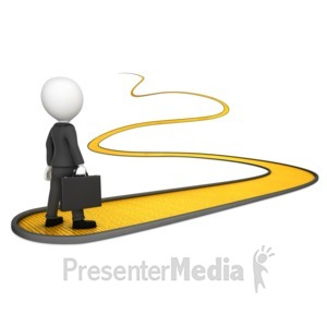 ID# 17120 - Business Man On Golden Path - Presentation Clipart
