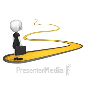 ID# 17121 - Business Woman on Golden Path - Presentation Clipart