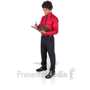 ID# 17129 - Young Man Taking Notes - Presentation Clipart