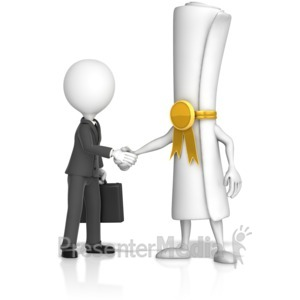ID# 17142 - Document Handshake with Business Figure - Presentation Clipart