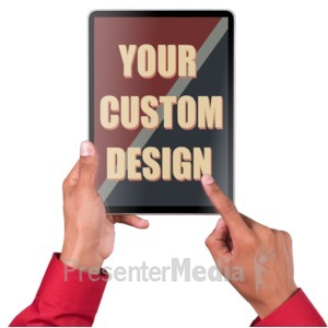 ID# 17143 - Hands Touch Tablet Vert Male Custom - Presentation Clipart