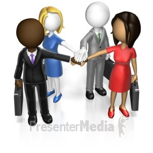 ID# 17144 - Business Team Huddle Custom - Presentation Clipart