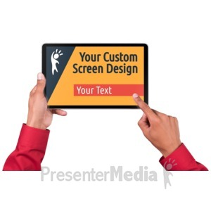 ID# 17145 - Hands Touch Tablet Male Custom - Presentation Clipart