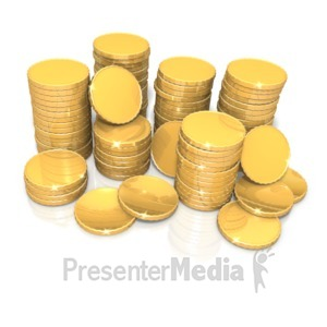 ID# 17147 - Stack Of Shiny Gold Coins - Presentation Clipart