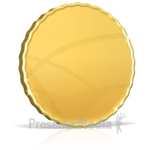 ID# 17148 - Single Shiny Gold Coin - Presentation Clipart