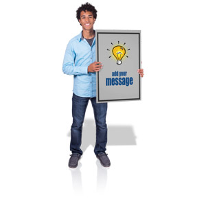 ID# 17158 - Young Man Hold Sign - Presentation Clipart