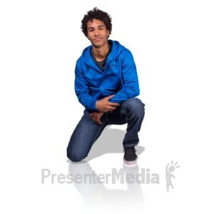 ID# 17174 - Young Man On Knee - Presentation Clipart