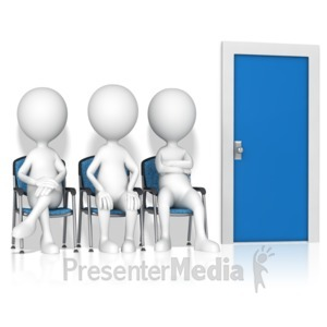 ID# 17244 - Figures Waiting By Door - Presentation Clipart