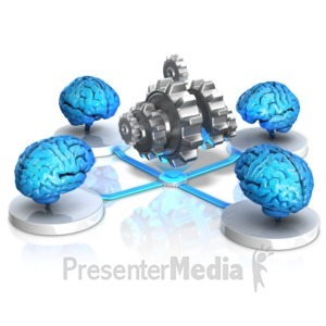 ID# 17247 - Brains Thinking Collectively - Presentation Clipart