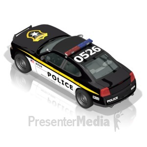 ID# 17306 - Police Car Back - Presentation Clipart