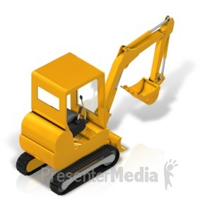 ID# 17340 - Back Hoe Isometric Back - Presentation Clipart