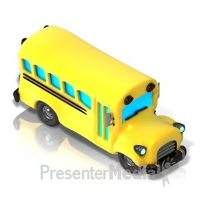 ID# 17344 - School Bus Isometric front view - Presentation Clipart
