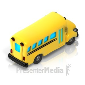 ID# 17345 - School Bus Isometric back view - Presentation Clipart