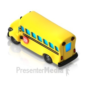 ID# 17346 - School Bus Isometric back view - Presentation Clipart