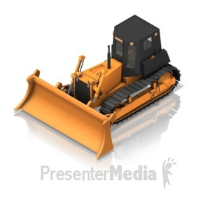 ID# 17350 - Bulldozer Front Isometric - Presentation Clipart