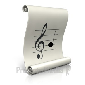 ID# 17360 - Music Sheet Scroll - Presentation Clipart