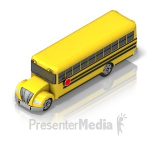 ID# 17363 - School Bus Front Isometric - Presentation Clipart