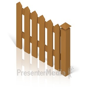 ID# 17371 - Picket Fence With Post Color - Presentation Clipart