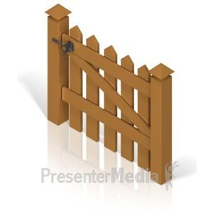 ID# 17391 - Picket Fence Gate Color Back - Presentation Clipart