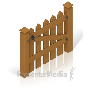 ID# 17392 - Picket Fence Gate Color Back - Presentation Clipart