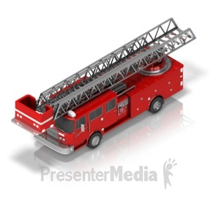 ID# 17395 - Firetruck Front Isometric - Presentation Clipart