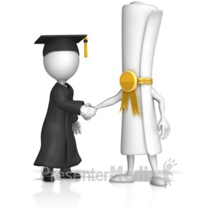 ID# 17412 - Diploma Shake Hands With Graduate Figure - Presentation Clipart