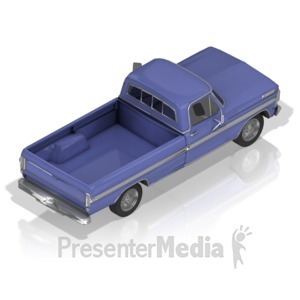 ID# 17420 - Pickup Truck Back - Presentation Clipart