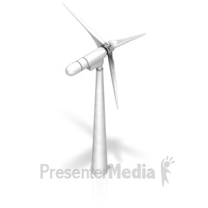 ID# 17424 - Wind Turbine Back Iso - Presentation Clipart