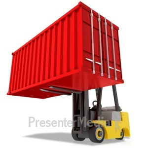 ID# 17505 - Forklift Carry Heavy Container - Presentation Clipart