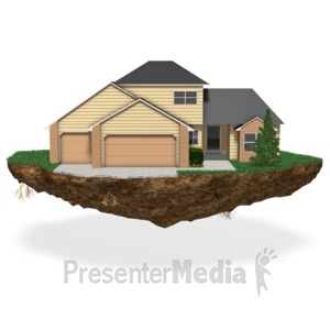 ID# 17508 - House On Chunk Of Land - Presentation Clipart