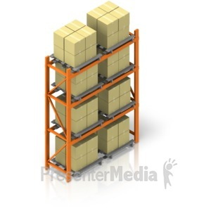 ID# 17519 - Full Warehouse Rack Isometric - Presentation Clipart