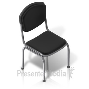 ID# 17528 - Metal Chair Front Isometric - Presentation Clipart