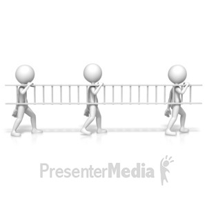 ID# 17556 - Figures Teamwork Ladder - Presentation Clipart