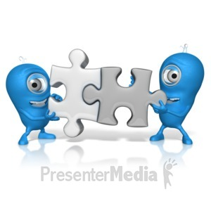 ID# 17664 - Characters Put Puzzle Pieces Together - Presentation Clipart