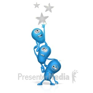 ID# 17666 - Teamwork Reach For The Stars - Presentation Clipart
