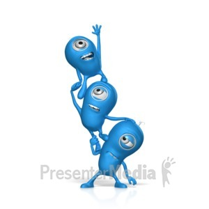 ID# 17667 - Teamwork Reaching For Something - Presentation Clipart