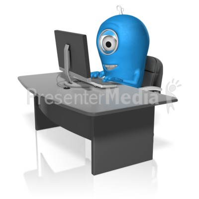 Character At Computer PowerPoint Clip Art