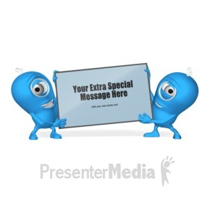 ID# 17703 - Characters With Sign - Presentation Clipart