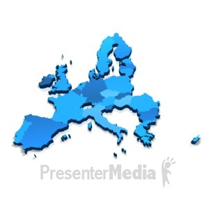 ID# 17749 - European Union 3D Map - Presentation Clipart