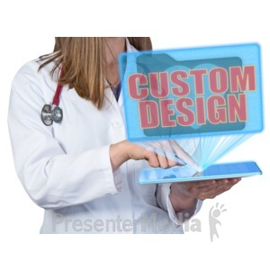 ID# 17753 - Medical Worker Hologram Display Custom - Presentation Clipart